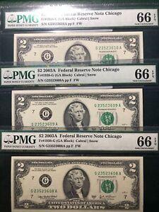 #3 2003A $2.00 FRN G/A BLOCK PMG 66Q