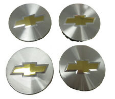 Chevy GM 4 Genuine OEM Factory Center Caps Bow Tie Emblem Logo Brushed Finish