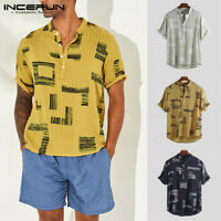 INCERUN Men's Short Sleeve Tops Vacation Casual Button T Shirt Holiday Beach Tee