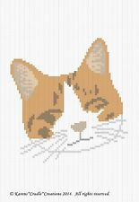 Crochet Patterns - CAT/KITTEN FACE Color Graph Afghan Pattern *EASY/BEGINNER
