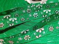"10 yards 3/8"" Green Metallic Silver Christmas Snowflake Grosgrain Ribbon"