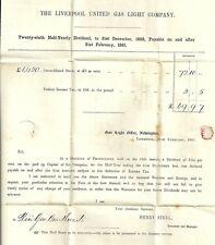 1861 LIVERPOOL GAS LIGHT DIVIDEND LETTER TO REV GEORGE BRAITHWAITE IN CHICHESTER