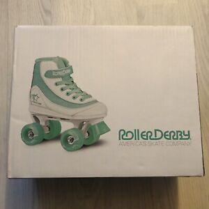Roller Derby Firestar V2 Quad Roller Skates 13 White/Teal/Mint Green Brand New