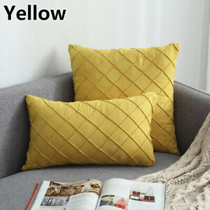 Home Velvet Rhombic Bedside Cushion Cover Compression Waist Pillow Pillowcase