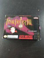 Final Fantasy III 3 iii FF - Super Nintendo SNES RPG Map Manual Box Complete CIB