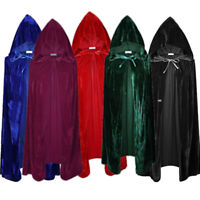 Adult Unisex Velvet Halloween Costumes Cloak Hood Cape Fancy Dress Cosplay Co IY