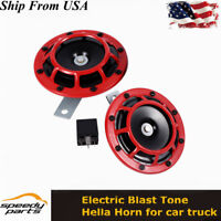 Pair 12V Super Loud Compact Electric Blast Super Tone Hella Horn for car truck