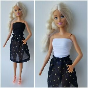 Barbie Doll Clothes Dress Shirt/Top & Skirt Outfit w/ Shoes Sheer Gold Black Dot