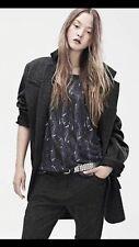 Isabel Marant Pour H&M Linen Top Slate Blue Print Knit Blouse Sz 4 PERFECT
