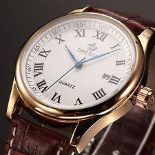 ORKINA Luxury Men Sport White Roman Dial Brown Leather Quartz Analog Wrist Watch