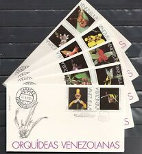 Venezuela, Scott cat. 1534 A-J. Orchids issue on 5 First day Covers.
