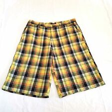 Red Ape Street Wear Mens Shorts XL Extra Large Long Plaid Skate Shorts Yellow