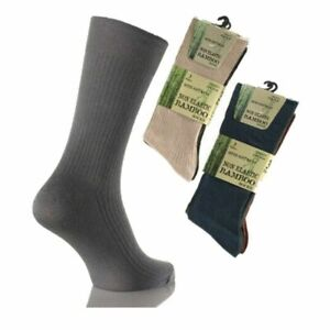 3 Mens Non Elastic Super Soft Bamboo with Cotton Anti-Bacterial Socks UK 6-11