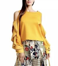 Gracia  Cut-Out Shoulder with Big Ruffle Sleeve Top Size 1XL/Mustard