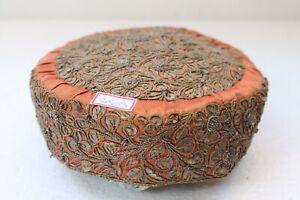 Antique Old Silver Thread Embroidery Muslim Holy Taqiyah Imamah Kufi Cap NH3003