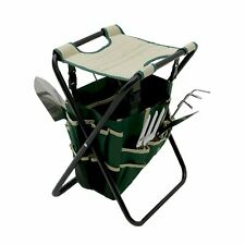 More details for new! folding gardeners tool stool with 5pc tools and storage bag