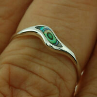 Simple Abalone Silver Ring, Mix US Size, 925 Solid Sterling Silver, r497au