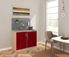 Mini Cucina Cucinino Pantry Blocco 100 CM Rovere Ruvido-Segato Rosso