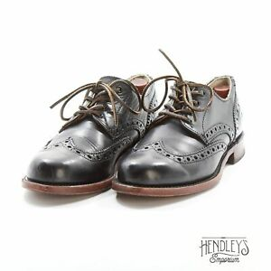 FRYE 'PAUL' Dress Shoes 9.5 M in Black Leather Wingtip Brogues USA