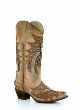 Corral Boots Womens Wing Cross Western Cowboy Boots Embroidery Snip Toe Bone
