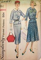 Vintage SIMPLICITY MCM #1927 Dress Jacket Pencil Skirt pattern Sz 14 Bst 34