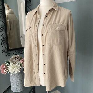 Thin Corduroy Cream Shirt M&S Size 16 / 18 Button Front 100% Cotton Very Soft