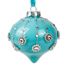 "3.5"" Tiffany Blue Onion Shaped Christmas Glass Ornament Tree Decor by Kurt Adler"