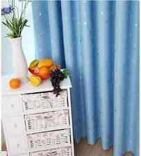 Kids Room Solution - Blockout Eyelet Curtains 140cm x 230cm (Drop) Sky Blue star