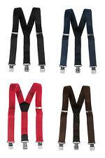 Mens braces wide adjustable+elastic suspenders Y-shape + strong clips-Heavy duty