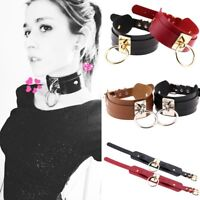 Womens Girls Fashion Gothic Punk Wide PU Leather O Ring Collar Choker Necklace