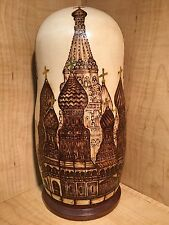 "RUSSIAN MATRYOSHKA NESTING DOLL MOSCOW CHURCH WOOD BURNED GOLD HANDMADE NEW 10"""