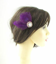 Purple White Silver Peacock Feather Fascinator Hair Clip Vintage Races 1920s 144