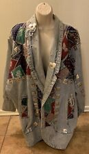 Vintage Apache Whacky Jean Jacket Women Size Large Metal Plates Colorful Squares