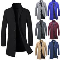 Men's Jacket Wool Coat Winter Trench Coat Outwear Overcoat Long Sleeve Jacket