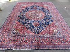 Vintage Hand Made Traditional Rug Oriental Wool Navy Blue Large Carpet 385x295cm