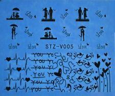 Accessoire ongles nail art , Stickers décalcomanie, motifs amour Saint Valentin