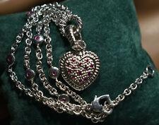 Sterling Silver Ruby Heart Bracelet