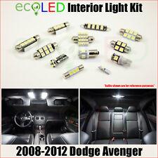 Fits 2008-2012 Dodge Avenger WHITE LED Interior Light Accessories Kit 10 Bulbs