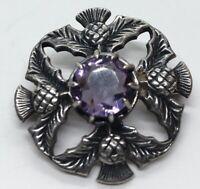 Vintage Sterling Silver Brooch Pin 925 Amethyst Scottish Thistle Hallmarked