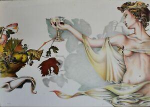 """Walter Falconi litografia """"Un Brindisi"""" 70x50 firmata numerata 24/99 arabi"""
