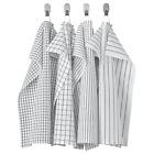 4 PCS IKEA Cotton Tea Towel White Grey Yarn-dyed Kitchen Dishcloths with Loops