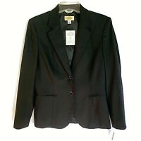 Talbots Blazer Size 6 NWT Black Italian Wool Fabric Lined Career Orig 228.00
