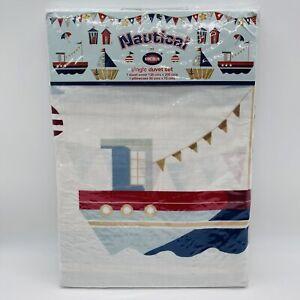 Nautical single duvet set 1 pillowcase boats seaside sail lighthouse white blue