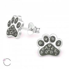 Sterling Silver 925 Dog / Cat Paw Print Sparkly Crystal Stud Earrings - Grey