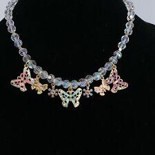 Vintage Kirks Folly Fairyland Crystal Aurora Borealis Enamel Butterfly Necklace