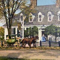 Postcard VA Colonial Williamsburg Inc Raleigh Tavern Horse & Carriage Runca 1953