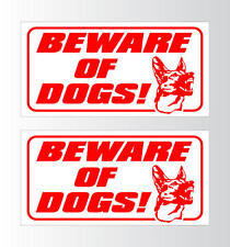"""TWO! Beware of Dog German Shepherd Dogs Signs 12x6"""" KEEP OUT AWAY Warning Signs"""
