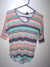 Womens Juniors Rue 21 V neck short front long back  3/4 Sleeve Knit Top Medium