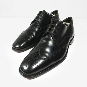 Loake Bogart Brogue Shoes Black Leather Smart Dress Derby England Mens Size UK 8