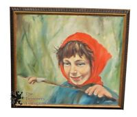 """Vintage Oil Painting on Canvas Little Red Riding Hood? Realism Signed 29"""" Vivid"""